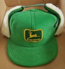 Vintage John Deere Corduroy Snapback Hat Wool Ear Flaps Cap 70s Louisville