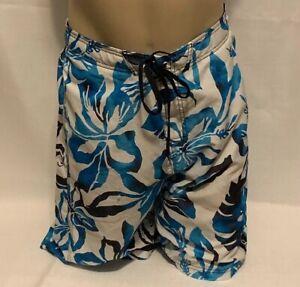 SPEEDO  Blue White Hawaiian Floral Shorts Trunks  Men's  Sz L No Lining