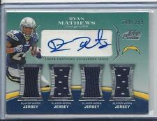 RYAN MATHEWS 2010 TOPPS PRIME LEVEL 5 (V) QUAD JERSEY AUTO RC #D 344/399