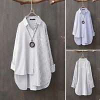 ZANZEA Women Buttons Down Stripe Long Shirt Tops Asymmetrical Hem Blouse Plus