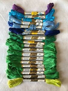 Lot of 19 Skeins Vintage Lily Cotton Embroidery Floss Blue Green Purple Shades