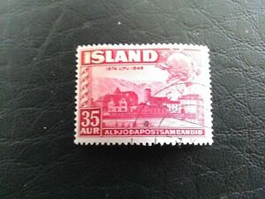 USED STAMP OF ICELAND 1949 75th ANNIV OF UPU 35 AUR RED. SG293.