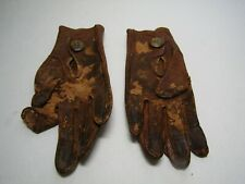 """Antique Victorian Era Brown Leather Gloves For Small Child or Doll """"M"""" Monogram"""