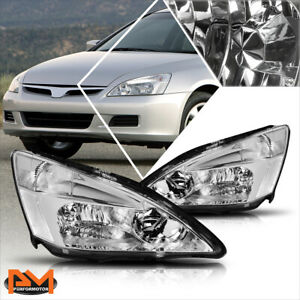 For 03-07 Honda Accord JDM Chrome Housing Headlight Clear Side Corner Lamps Pair