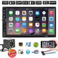 "7"" Touch Bluetooth FM Radio USB AUX Screen Car Stereo MP5 Player+Rear Camera"
