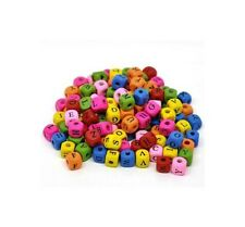 50 x 10mm Mixed Colour Alphabet  Letter Cube Wooden Beads Craft Beading U88