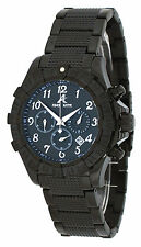Adee Kaye AK7140-MIPB Men's ALL Black Stainless Steel Chronograph Watch