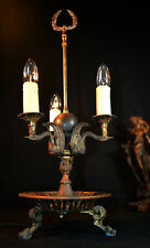 Vintage 1950s bronzed brass French three swan neck branch Bouillotte Table Lamp