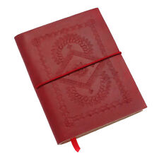Fair Trade Handmade Medium Crimson Red Embossed Leather Notebook