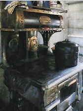 "*Postcard-""An Old Coal Stove"" ...Cooking with Big Pan- ...CLASSIC-"