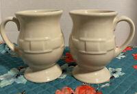 2 LONGABERGER Pottery Ivory Pedestal Footed Coffee Latte Cup Mug-EUC-