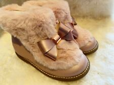 Baker by Ted Baker Pink Girls Faux Fur Bow Boots Size 11 UK / 29 EU BNWT RRP £40