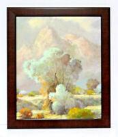 Desert Shrub Rocks Landscape  20 x 24 Oil Painting on Canvas w/ Custom Frame
