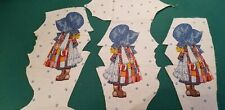 New listing Rare 3 Vintage Holly Hobbie silhouette Cotton quilt fabric Blue Hat American Gtg