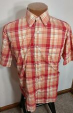 Titanos Men's Short Sleeve Button Front Shirt Red Blue White Orange Plaid Large