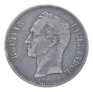 SILVER - WORLD COIN - 1900 Venezuela 5 Bolivares - World Silver Coin *307