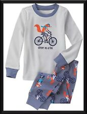 NWT 12-18 Mos Gymboree CLEVER AS A FOX 2pc SET gray COTTON GYMMIES sleepwear PJs