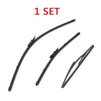 Front Rear Windshield Wiper Blades For Nissan Qashqai J10 2007-2013 Black