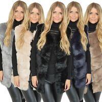 Damen Designer Kunstfell Weste Blogger Winterweste Jacke Kunstpelz 10044lang