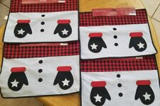 NWT Set of 4 Christmas Snowman Place Mats w/Mittens Hold Utensil Black Red 13X17