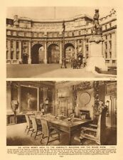 Sir Aston Webb's arch to the Admiralty buildings and the board room 1926 print