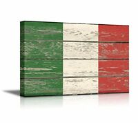 """Canvas Prints Wall Art - Flag of Italy on Vintage Wood Board Background- 16""""x24"""""""