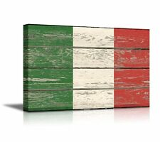 Canvas Prints Wall Art - Flag of Italy on Vintage Wood Board Background- 16
