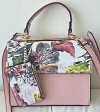 Dune London Blush Pink Floral 3 in 1 Satchel Tote Handbag + Coin Purse Rose Gold