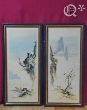 Mid-Century Pair Chinese Drawings watercolor Signed