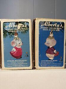 Vintage1980 Casting Slip Mold Alberta's Girl and Boy Mistletoe Mouse Set of Two