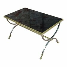 Vintage Maison Jansen Style Metal Coffee Table w/Brass Hoof Feet