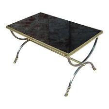 Vintage Maison Jansen Style Metal Coffee Table w/Brass Hoof Feet