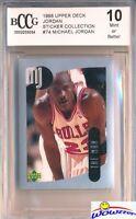 1998 Upper Deck #74 Michael Jordan Sticker BECKETT 10 MINT Bulls HOF