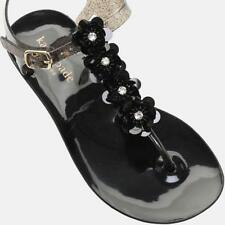 63b2eb62070dd2 NEW KATE SPADE FARRAH SHINY RUBBER BUCKLE THONG SANDALS BLACK JEWELED size 7