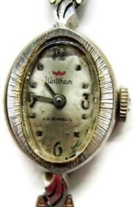 Waltham Vintage 23 Jewels 14k White Gold Oval Shape Wrist Watch- Run