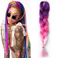 "5Pcs 24""  Ombre Purple Pink Synthetic Jumbo Braiding Hair Kanekalon Twist Braids"