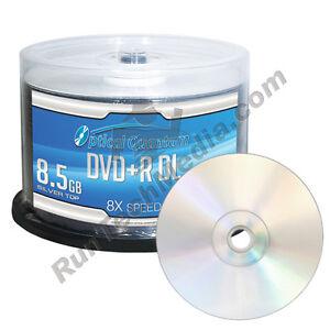 50 Optical Quantum 8x 8.5GB DVD+R DL Double Layer Shiny Silver Disc OQDPRDL08NPS