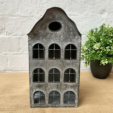 Vintage Metal Dutch House Home Garden Pillar Candle Holder Lantern Ornament Art