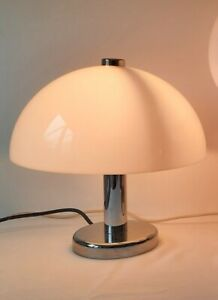 Flos style Glo-ball table lamp white shade silver colour stem footed baseglobe