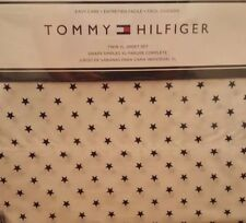 TOMMY HILFIGER Twin XL 3pc Sheet Set Navy Blue Stars on White Easy Care Nautical