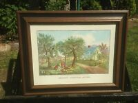 Vintage Currier and Ives American Homestead Autum Lithograph Print In Frame