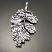 22pcs Retro Silver 32x19mm Tree Leaves Pendants Charms Jewelry DIY Accessories