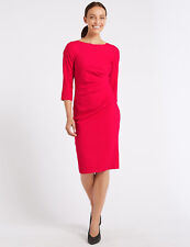 Ex M&S Marks and Spencer  Twisted Front 3/4 Sleeve Bodycon Midi Dress