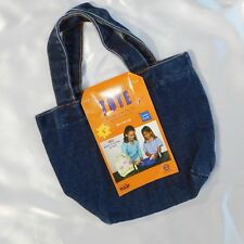 "NEW Dark Blue Denim Jean Tote Bag Bucket Purse Small 9"" NWT"
