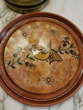 Seminario Redware Pottery Rimmed Plate featuring a Dove with Olive branches.