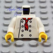 NEW Lego White Minifig CHEF JACKET TORSO Male Female Kitchen Cook Baker Shirt