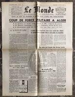 N87 La Une Du Journal Le Monde 23 Et 24 Avril 1961