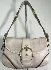 COACH Signature Mini C's PURSE Shoulder Bag HANDBAG Hobo White Beige 1457