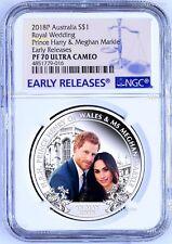 2018 Royal Wedding Prince Henry Ms. Meghan 1oz $1 SILVER PROOF COIN NGC PF70