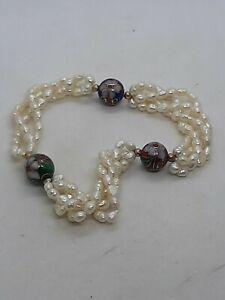 3 Strand Freshwater Rice Pearl & Fine Cloisonne Bead Beaded Bracelet 14kt Beads